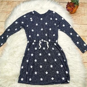 Gap Girl Star Print Long Sleeve Navy Dress Size S